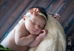 sleeping pose newborn portrait vintage gold flower lace headband