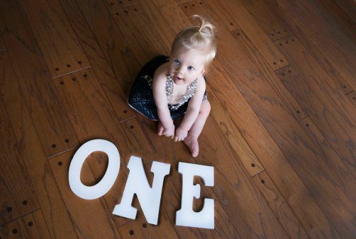 ONE letters with baby girl first year portraits