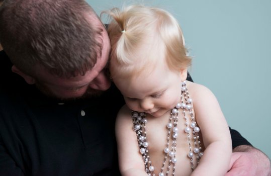 dad and one year old baby girl first year portraits