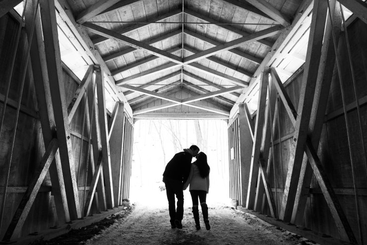 engagement portraits in covered bridge black and white