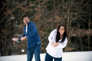 engagement portraits snow ball fight