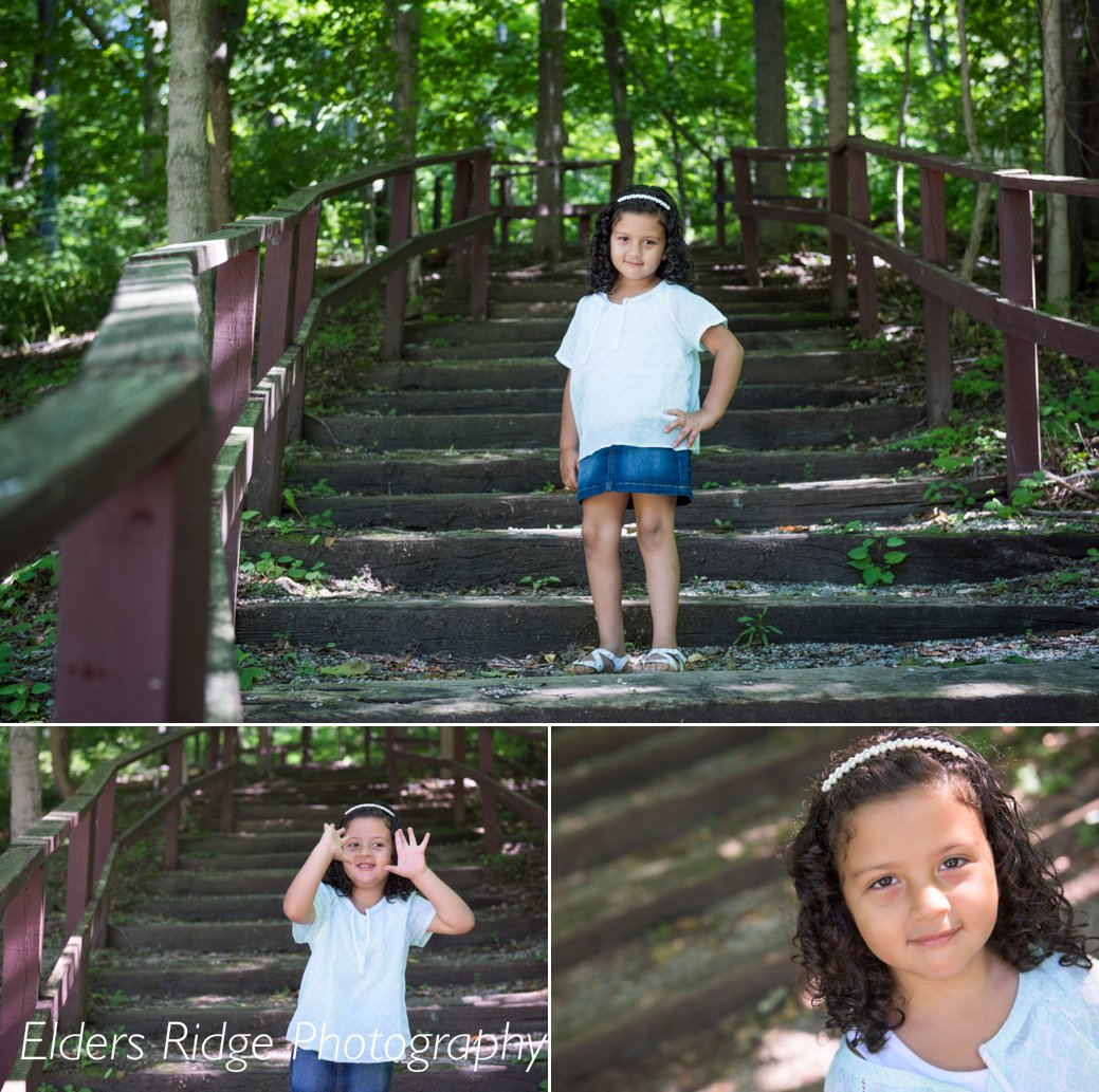 4 year portraits on steps in woods