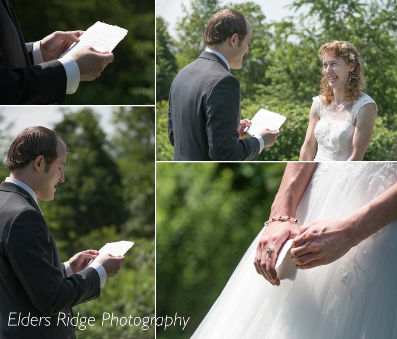 Brandon reads his vows to Karissa