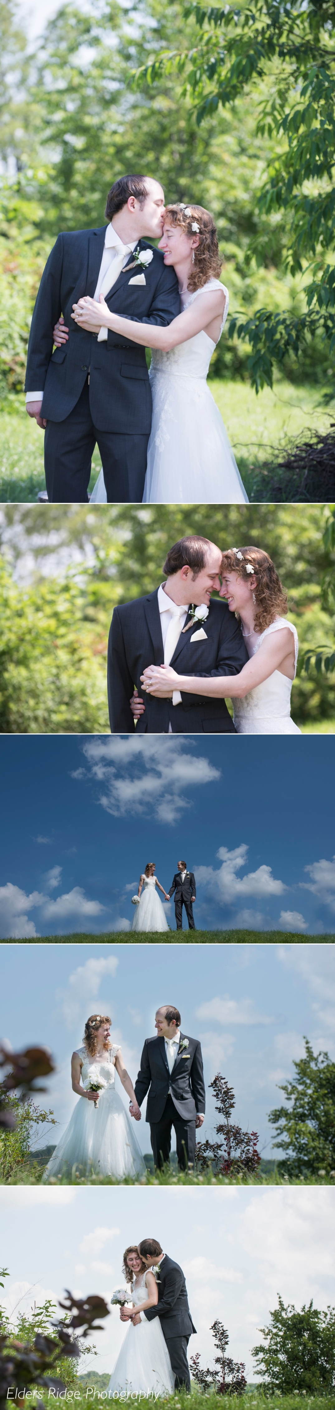 Wedding portraits with bright sun and blue sky