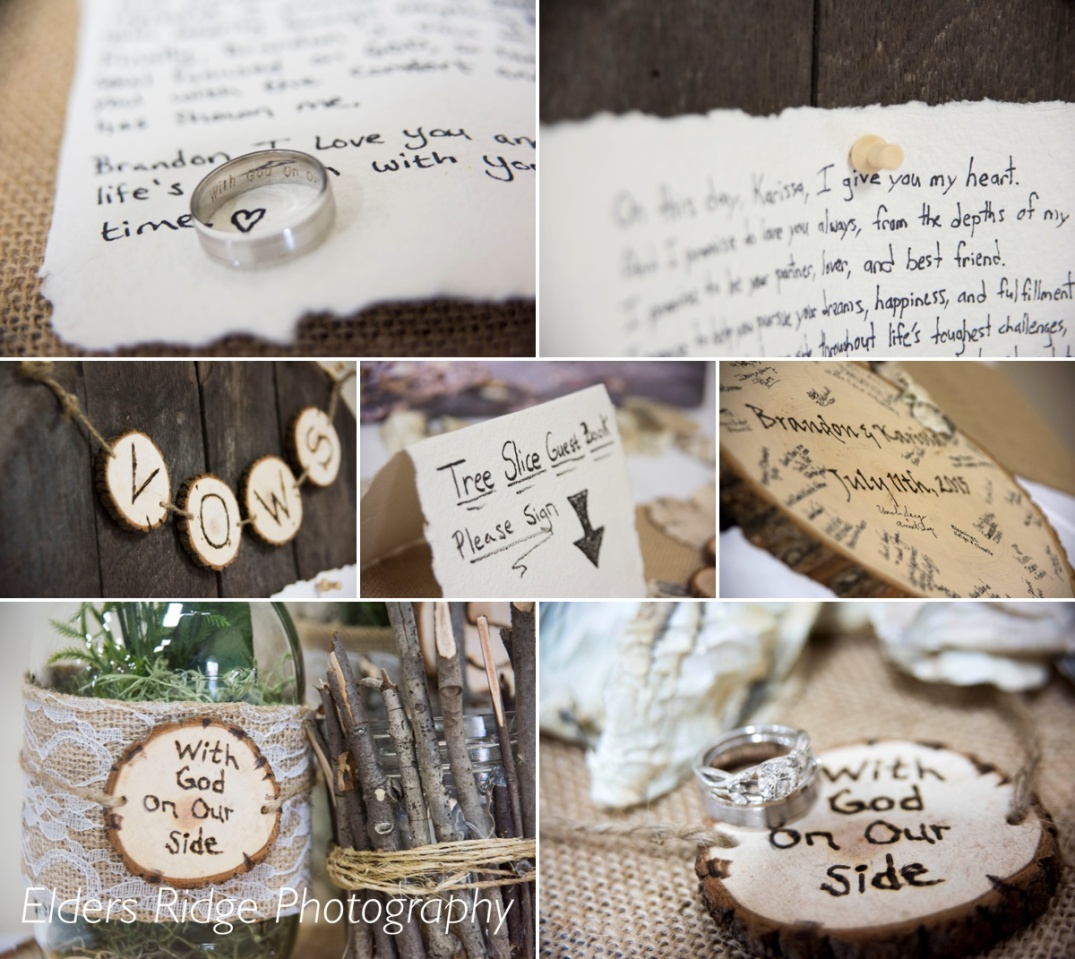 Karissa made all the rustic detail pieces for the reception