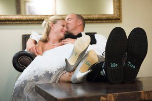 bride and groom i do me too on shoes