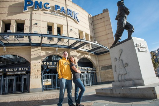Engagement portraits North Shore Pittsburgh PA PNC Park
