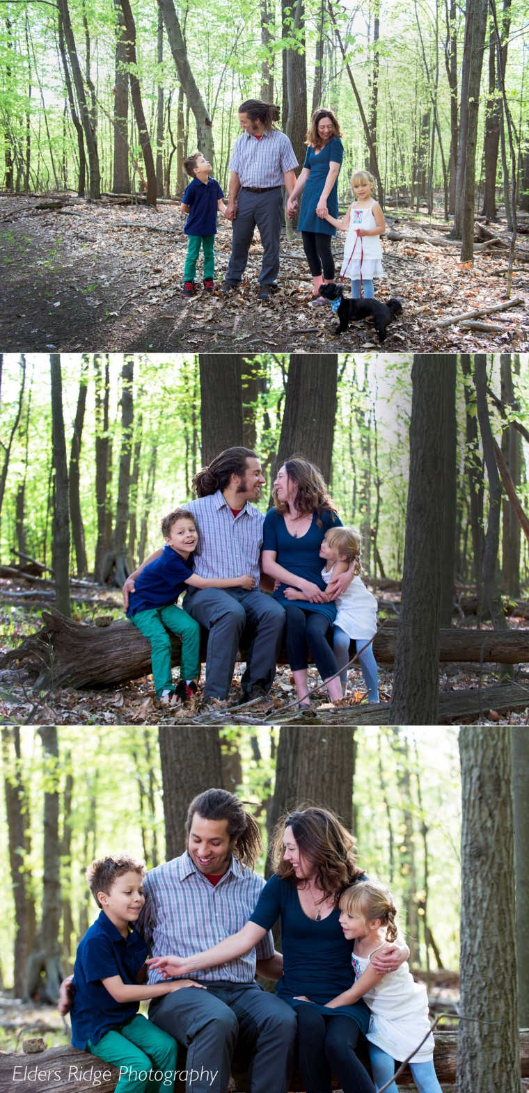family of 4 portraits in woods