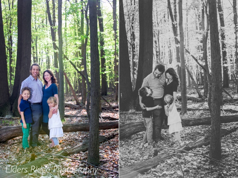 family portraits in woods color and black and white