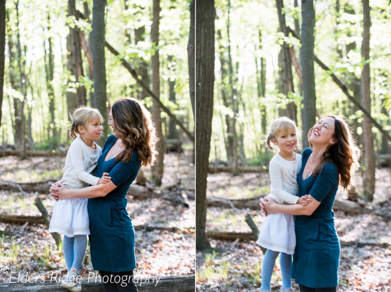 mother and daughter portraits in woods