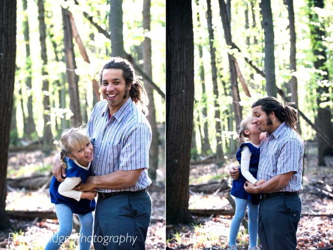 daddy and daughter portraits in woods