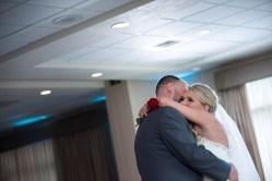 bride and groom first dance at reception at Rustic Lodge