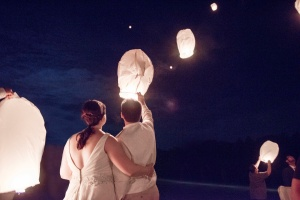 lantern send off at wedding at Camp Kon O Kwee