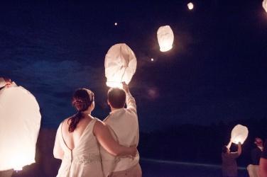 lantern send off at wedding at Camp Kon O Kwee
