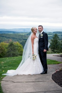bride and groom portraits outside Mansion at Linden Hall