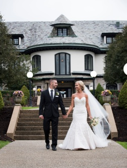 Bride and groom portraits in front of Mansion at Linden Hall