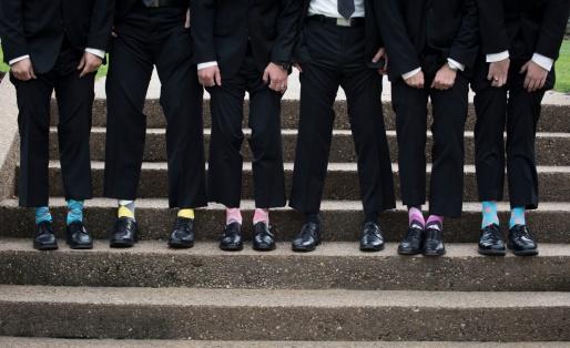 groomsmen in funky socks
