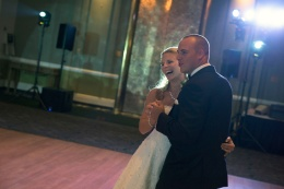 candid bride and groom first dance