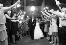 sparkler send off at end of reception at Chestnut Ridge Resort