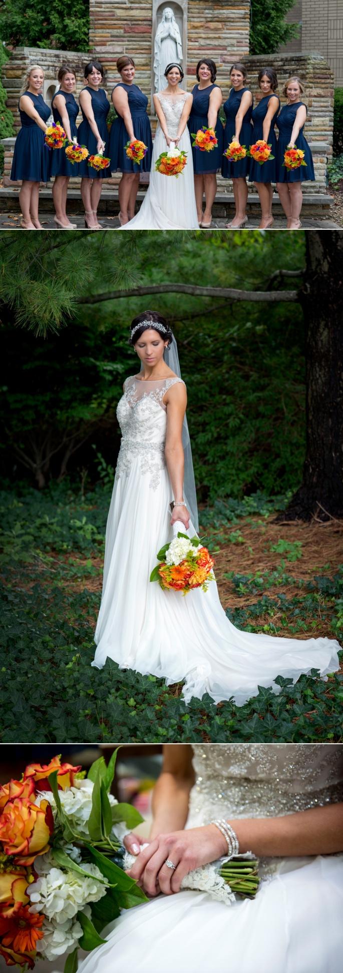 navy tea length bridesmaid dresses and fall flowers
