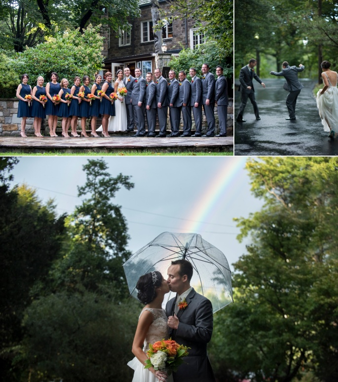 fall bridal party navy and gray with orange fall flowers