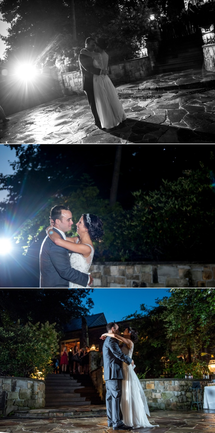 bride and groom first dance on patio outside at Springwood Conference Center