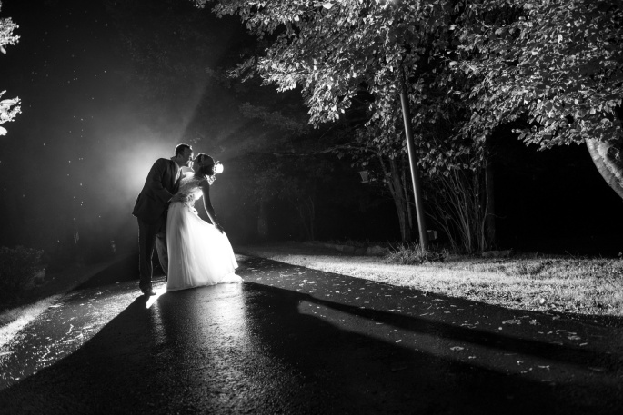 bride and groom end of the night shot at Springwood Conference Center