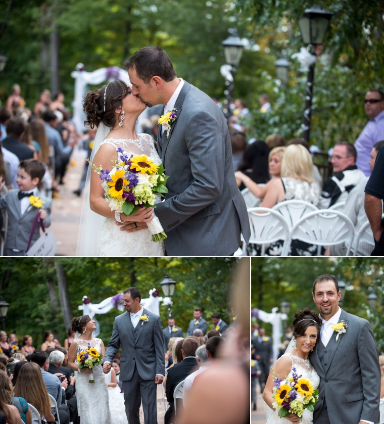bride and groom kissing at Lake Raystown Resort