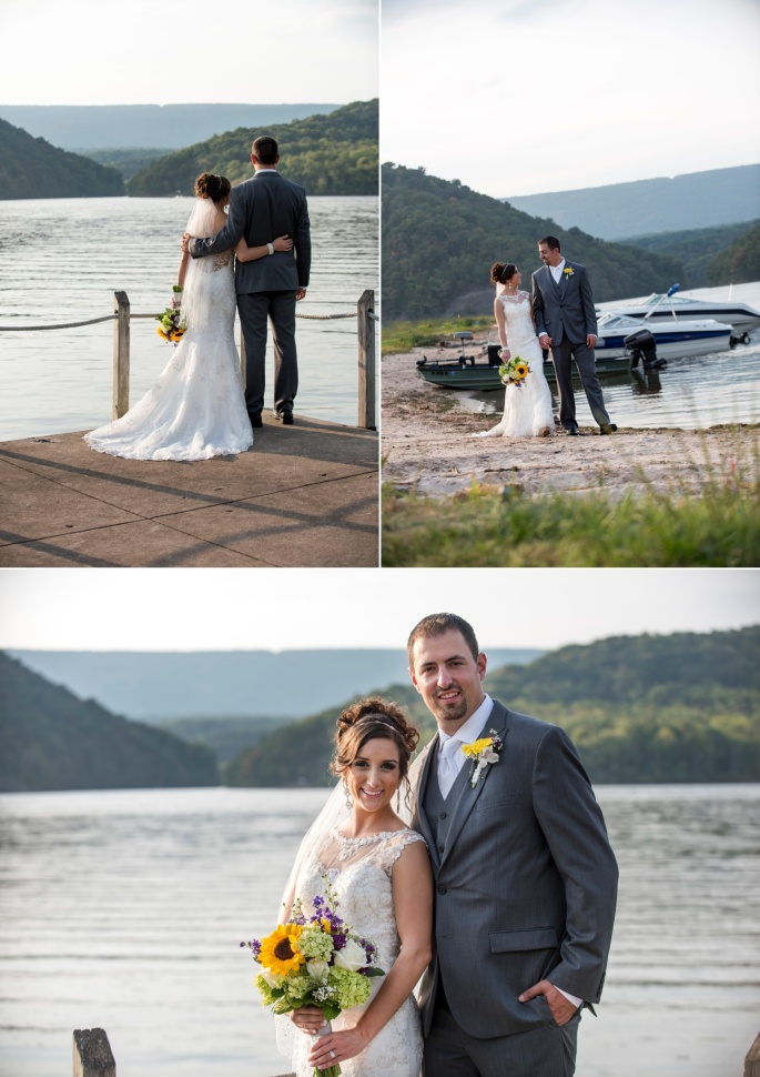 bride and groom wedding portraits at Raystown Lake