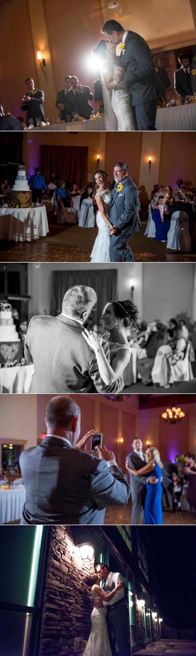 Bride and groom dancing at reception at Lake Raystown Resort
