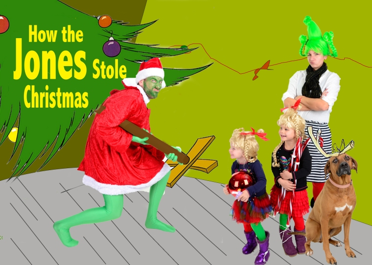 custom family christmas card featuring How the Grinch Stole Christmas