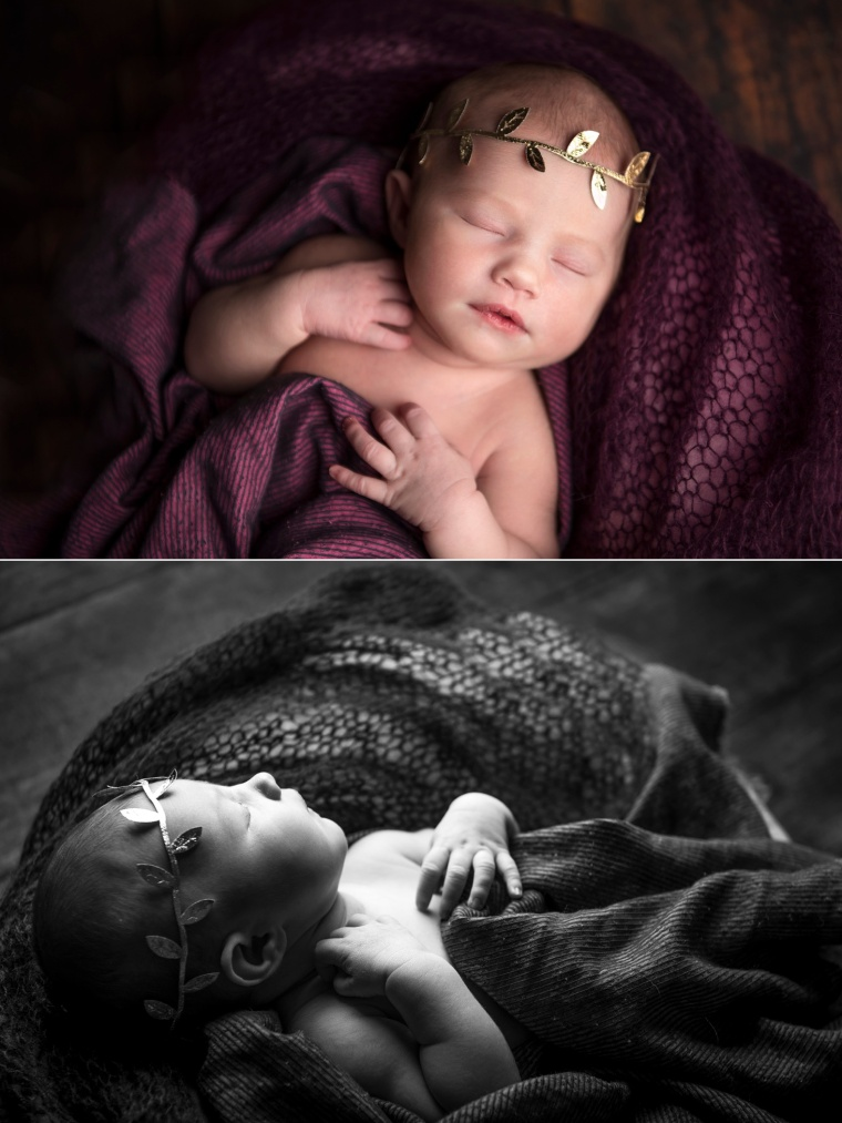 newborn girl with gold leaf crown