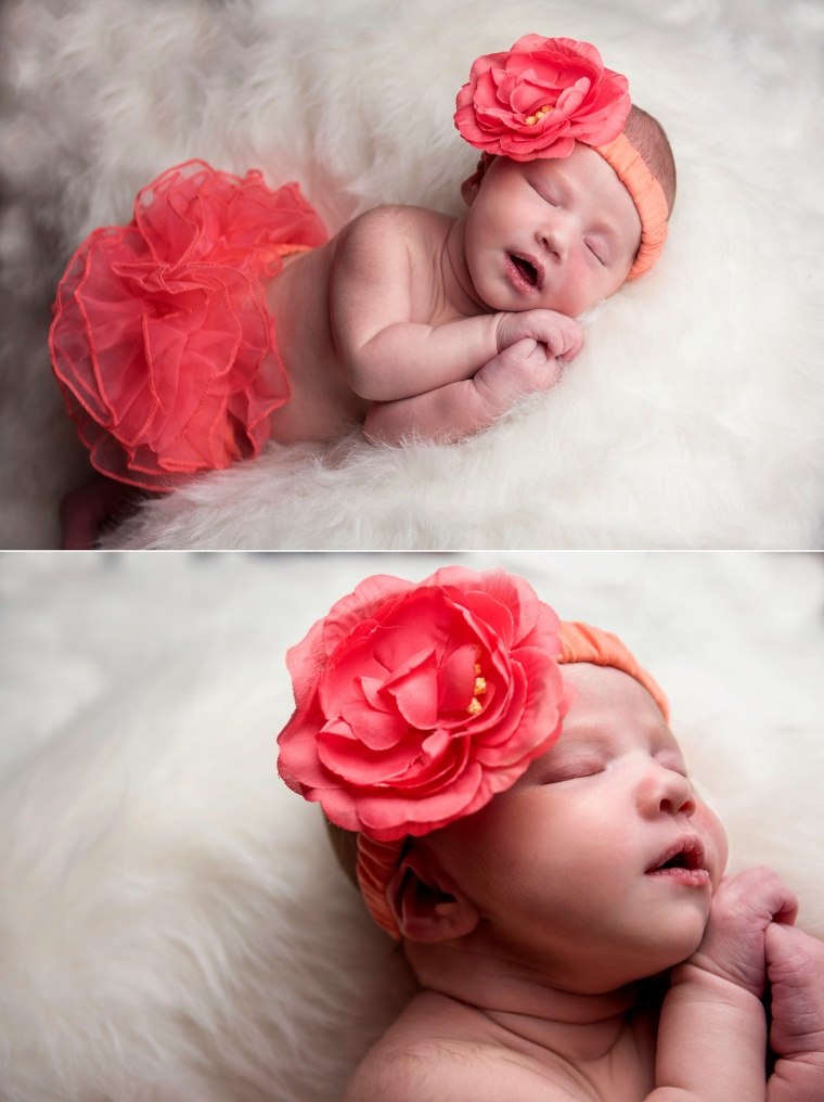 newborn girl in tangerine ruffled skirt with matching flower headband