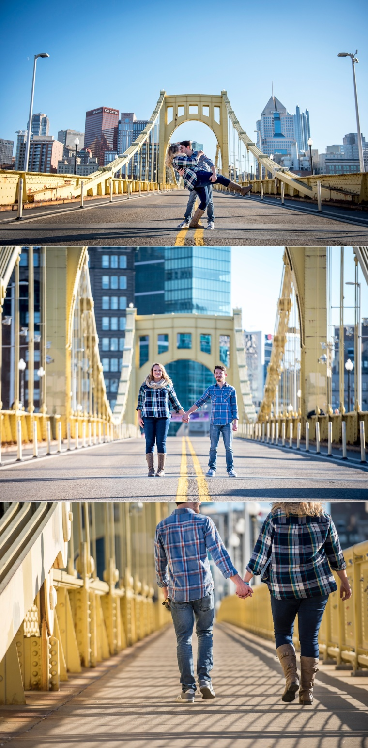 Pittsburgh engagement portrait session Clemente Bridge