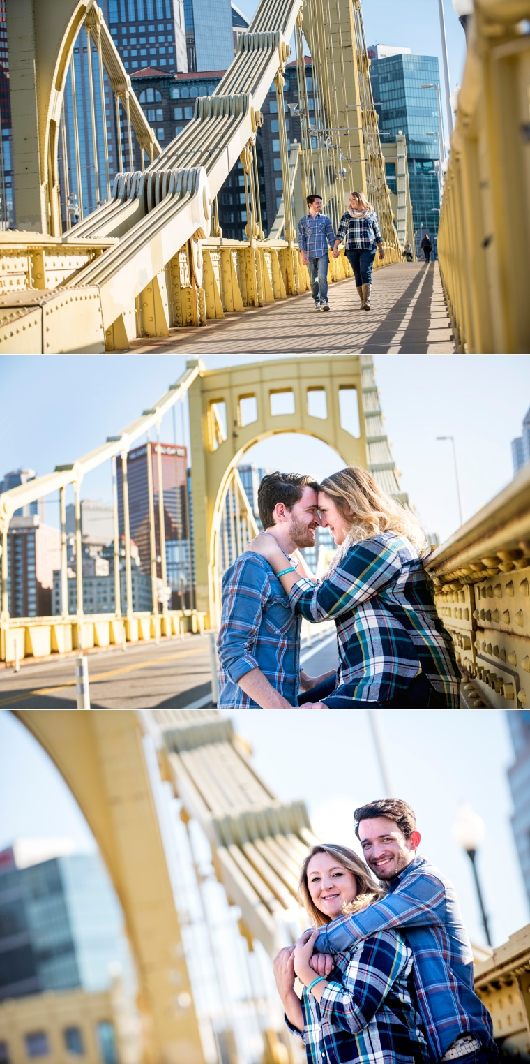 engagement portraits in Pittsburgh on yellow bridge