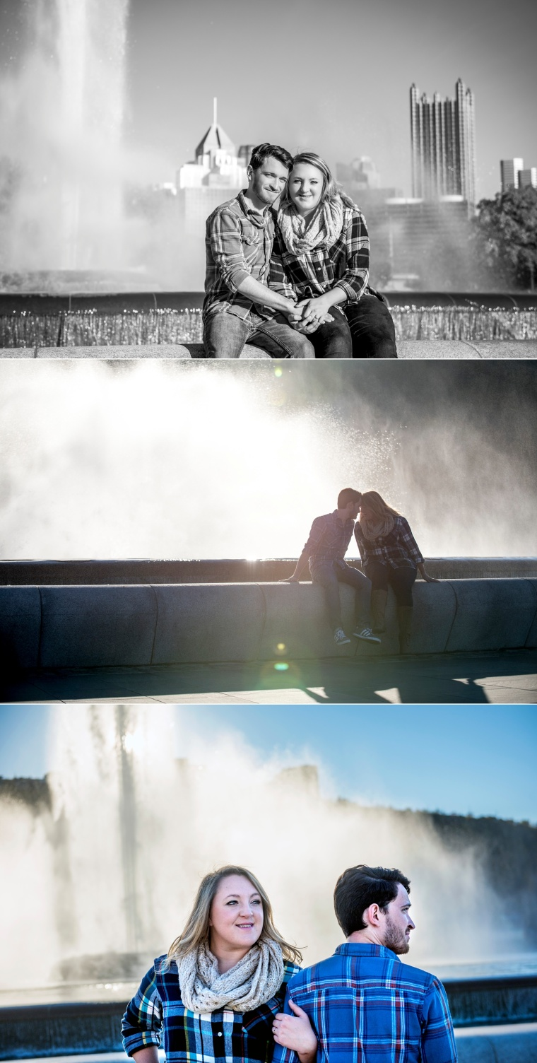 engagement portraits at Point State Park fountain Pittsburgh