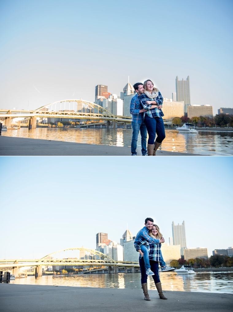 Pittsburgh engagement portraits on North Shore