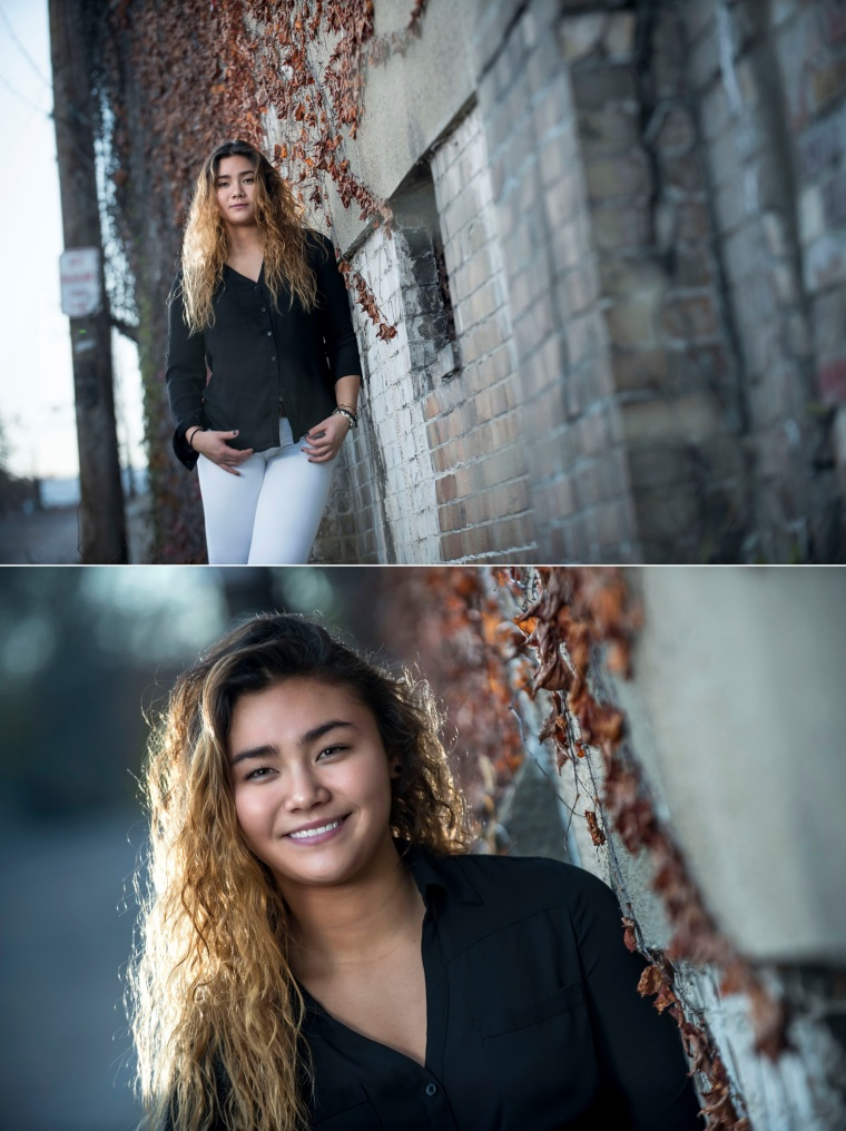 high school senior portraits in alley in new brighton pa