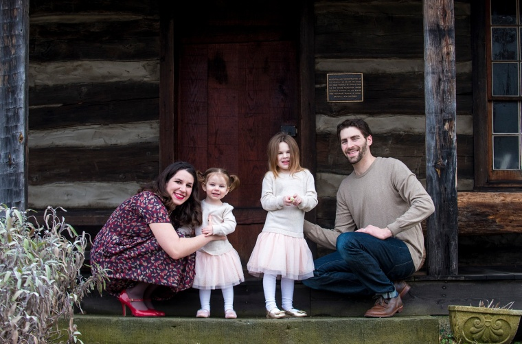 family portraits at rustic cabin in beaver pa