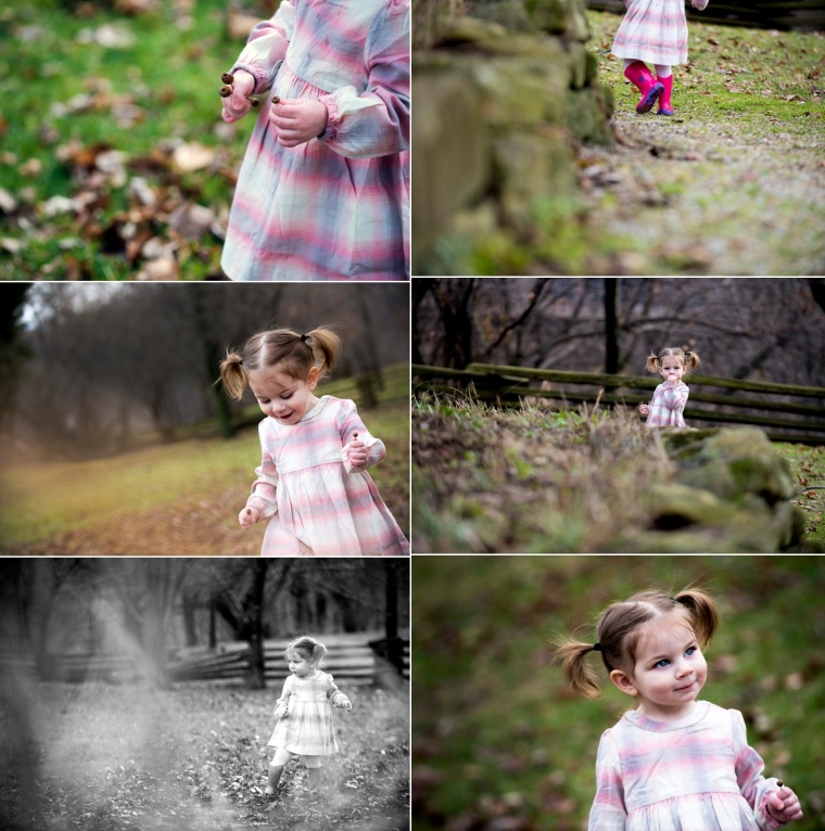 two year old portraits in pink dress and pink rain boots