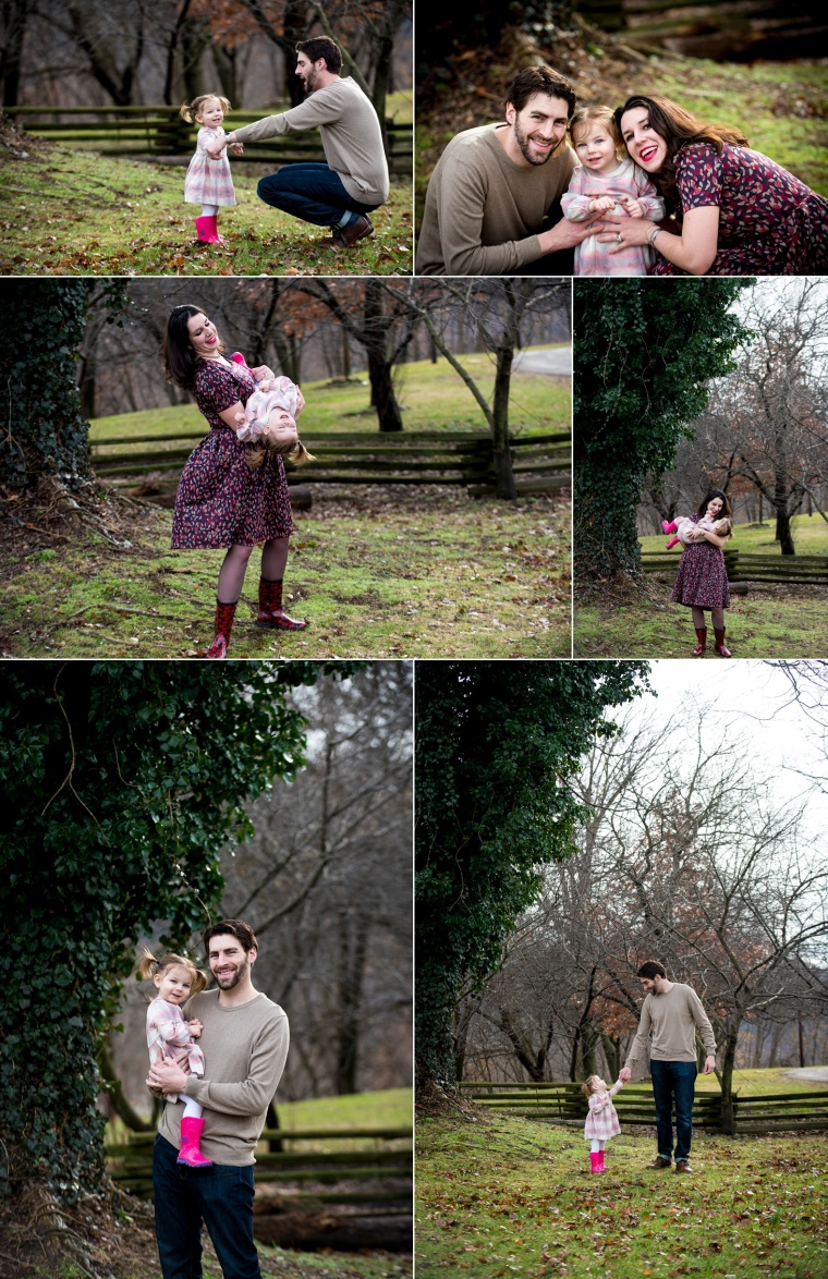 portraits of mom and dad with two year old daughter