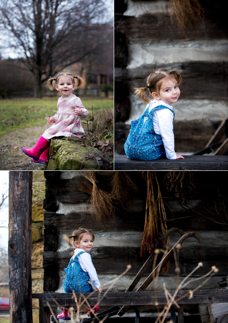 two year old portraits with girl in pink dress and blue overalls