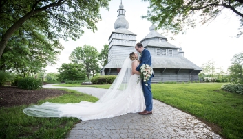 Wedding portraits at gothic church